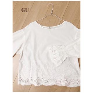 ジーユー(GU)のジーユー トップス ブラウス 刺繍 L(シャツ/ブラウス(長袖/七分))