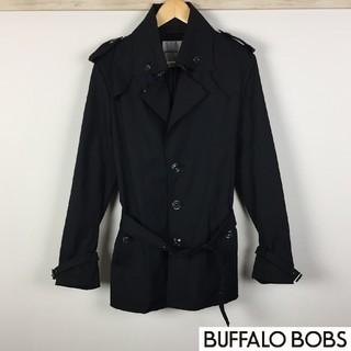 バッファローボブス(BUFFALO BOBS)の美品 バッファローボブズ トレンチコート ブラック サイズ3(トレンチコート)