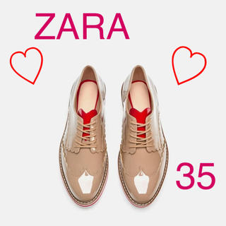 ザラ(ZARA)のZARA  新品未使用  ハート柄ブルーチャー  サイズ35(ローファー/革靴)