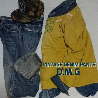ディーエムジー(D.M.G)のドミンゴ DOMINGO ヴィンテージ色落クラッシュリペア加工デニムパンツ(デニム/ジーンズ)