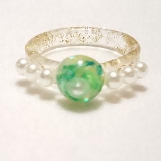 リング指輪*グリーン*ハンドメイド(リング)