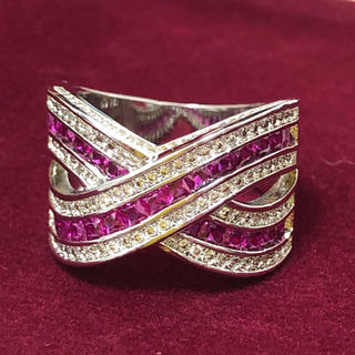 ピンク&ホワイトCZ シルバーカラーリング 女性 指輪(リング(指輪))