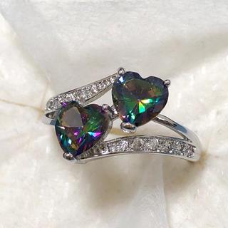 レインボートパーズ風 シルバーリング 女性 指輪(リング(指輪))