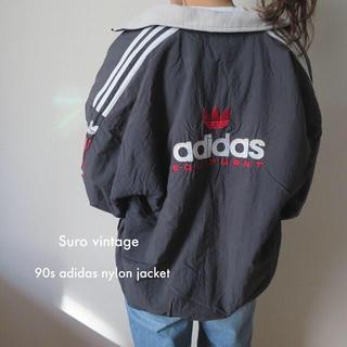 90s adidas ナイロンジャケット 刺繍ロゴ 古着 レディース