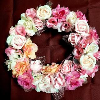フラワーリース♪No.15ピンクのバラ(リース)