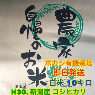 【農家直送】H30. 新潟産 1等米 コシヒカリ 白米 ボカシ有機栽培 10キロ(米/穀物)