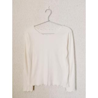ウィゴー(WEGO)のWEGO メロウフリルリブロングカットソー Tシャツ 長袖 白(Tシャツ(長袖/七分))