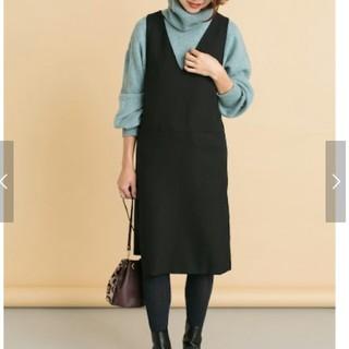 アーバンリサーチロッソ(URBAN RESEARCH ROSSO)のロッソ ジャンパースカート 黒 美品(ひざ丈ワンピース)
