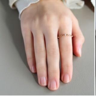 ノワールドプーぺ デルタパール チェーンリング 指輪 k10 11号 #11  (リング(指輪))