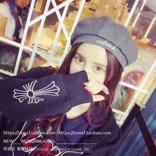 秋 冬 アルファベットウール かぼちゃ型 ベレー帽 グレー 防寒 灰色 帽子(ハンチング/ベレー帽)