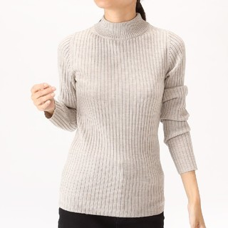 MUJI (無印良品) - 無印良品首のチクチクをおさえたワイドリブ洗えるハイネックセーター/オートミールM