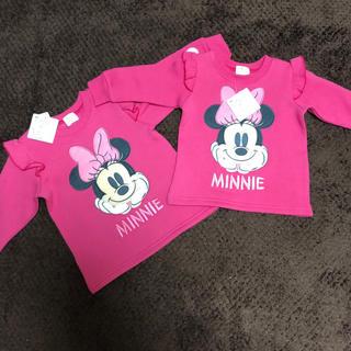 ディズニー(Disney)のミニー 裏起毛 トレーナー ディズニー 女の子 80 95 新品 タグ付き(Tシャツ/カットソー)
