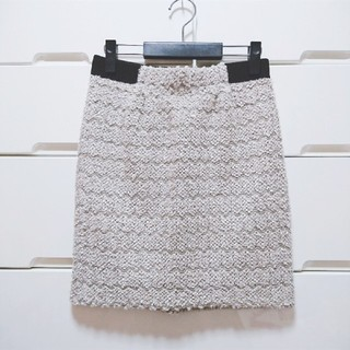 シマムラ(しまむら)の美品 しまむら  L ツイード スカート ベージュ(ひざ丈スカート)