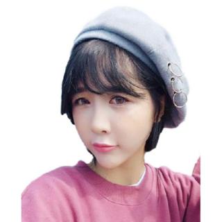 ★レディース PUNK 帽子 ベレー帽 キャップ ハット 韓流 (グレー)(ハンチング/ベレー帽)