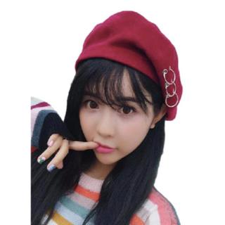 ★レディース PUNK 帽子 ベレー帽 キャップ ハット 韓流 (レッド)(ハンチング/ベレー帽)