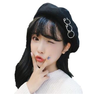 ★レディース PUNK 帽子 ベレー帽 キャップ ハット 韓流 (ブラック)(ハンチング/ベレー帽)