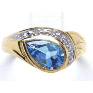 K18 ブルートパーズ ダイヤモンド リング(リング(指輪))
