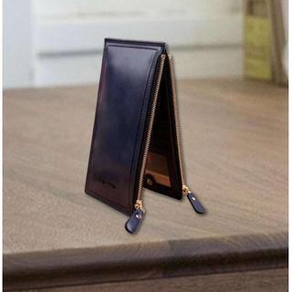 PU レザー カードケース ダブルファスナー ネイビー(長財布)