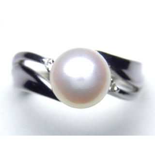 プラチナ あこや本真珠 ダイヤモンド リング(リング(指輪))