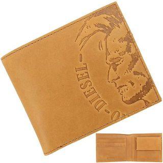 ディーゼル(DIESEL)のディーゼル 二つ折り財布 エンボスロゴ レザー ゴールデンブラウン(折り財布)