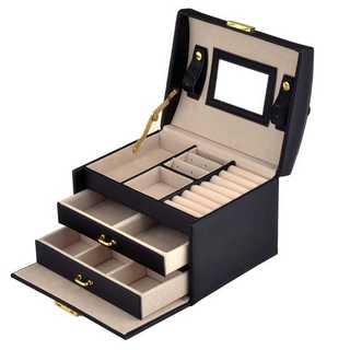 【大人気】ジュエリーボックス 大容量 鏡付き ブラック 宝石箱 新品(小物入れ)
