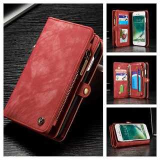 赤★iPhone 6s/7/8/Plus スエード レザーケース 財布★