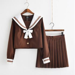 コスプレ 学生服 長袖 ブラウン セーラー服 上下セット リボン付き(衣装一式)