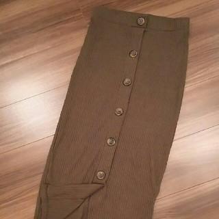 ザラ(ZARA)のZARAカーキ色ペンシルスカート(ロングスカート)