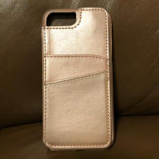 iPhone6,7,8 レザーケース ミラー、カード入れ付き ピンク(iPhoneケース)