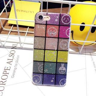 iPhone7/8 顔文字 絵文字 グリッター ラメ カラフル ケース(iPhoneケース)