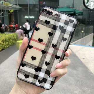 iPhone7/8 スマホケース チェック柄 ブラックハート(iPhoneケース)