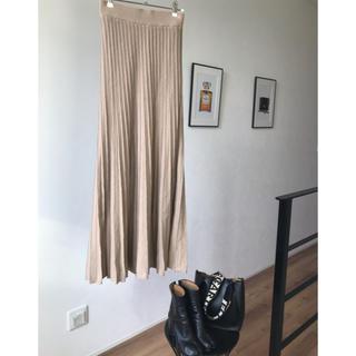 ミラオーウェン(Mila Owen)の美品 プリーツニットスカート 雑誌掲載商品(ロングスカート)
