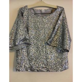 ギャップ(GAP)のL XL GAP ラメ スパンコール Tシャツ カットソー キラキラ シルバー (Tシャツ(長袖/七分))