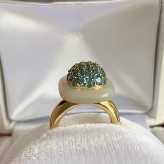 ブルートパーズ &シェル k18リング 指輪(リング(指輪))