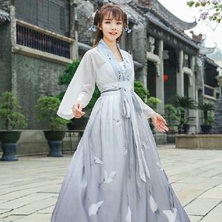 2点セット 刺繡シャツとロングスカート チャイナ風 美品(ひざ丈ワンピース)