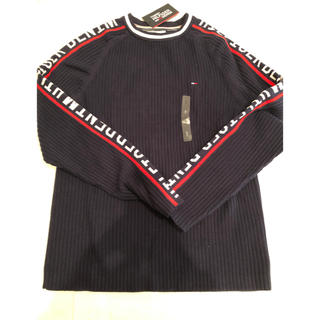 トミーヒルフィガー(TOMMY HILFIGER)のトミーヒルフィガー セーター メンズ S ロゴ ビッグロゴ ネイビー 新品 (ニット/セーター)