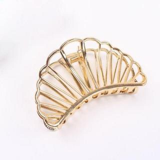 シェル 貝殻 ヘアクリップ バレッタ 髪飾り ゴールド 金色(ヘアピン)