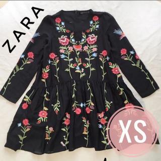 ザラ(ZARA)のザラ ワンピース ブラック 刺繍 春(ひざ丈ワンピース)