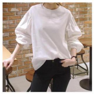 白ブラウス ボリューム袖 シャツ ランタンスリーブ ラウンドネック シンプル(シャツ/ブラウス(長袖/七分))