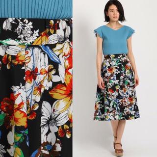 エージーバイアクアガール(AG by aquagirl)の美品♡花柄スカート(ひざ丈スカート)