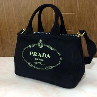 PRADA - PRADA ブラック カナパ ミニ Sサイズ ギンガム