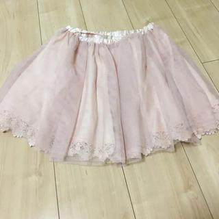 バイバイ(ByeBye)のバイバイ チュールスカート くすみピンク(ひざ丈スカート)