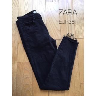 ZARA - ZARA*カットオフ スキニーデニム ブラックスキニー