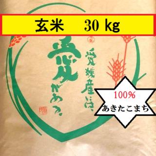 🍀お米 令和元年 愛媛県産あきたこまち 玄米 30kg(米/穀物)