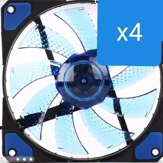 新品4個 クリアブルー LED 12mm PC ファン(PCパーツ)