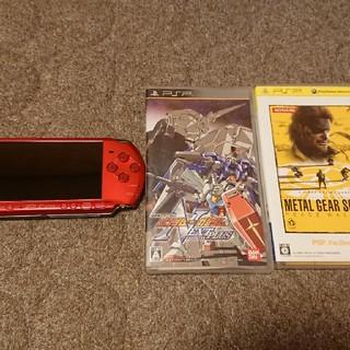 プレイステーション(PlayStation)のPSP-3000赤色 ソフト付き(携帯用ゲーム本体)