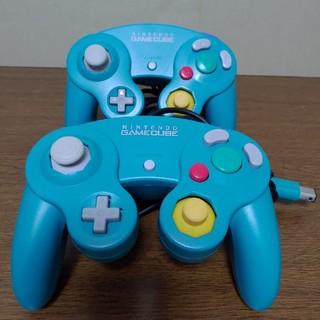 ニンテンドーゲームキューブ(ニンテンドーゲームキューブ)のゲームキューブコントローラー エメラルド 2個 美品 レアカラー(家庭用ゲーム本体)