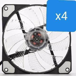 新品4個 クリアホワイト PC ファン(PCパーツ)
