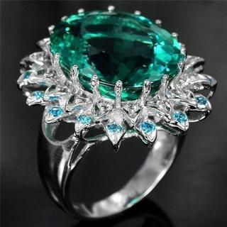 5ct超大粒 サファイアダイヤモンド風レディースリングサイズ15号(リング(指輪))