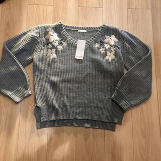 アベイル(Avail)のアベイル 花柄刺繍セーター 長袖ニット 春物ニット 新品 Lサイズ(ニット/セーター)